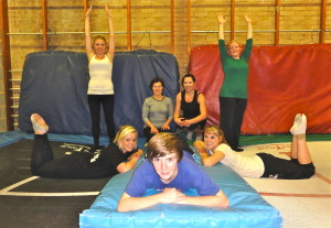 Trampoline class members having fun at Springfit