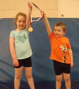 Alex and Erin Jenkins, Tuesday 4pm gymnastics class, Jubilee Centre, East Grinstead