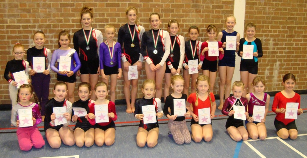 Novice A category entrants with their certificates of achievement and medals